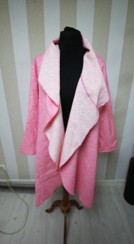 Długi płaszcz biały-różowy