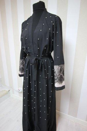 Długi płaszcz czarny-biały