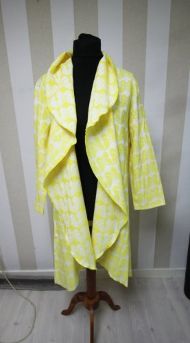 Manteau long jaune-blanc