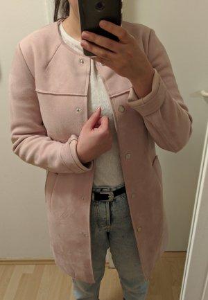 Leichter Mantel mit Wildlederoptik / powder Rosa