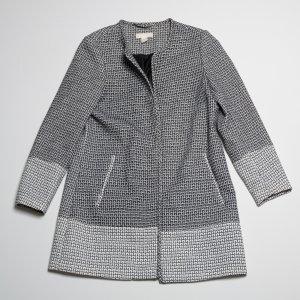 H&M Surdut czarny-biały Tkanina z mieszanych włókien