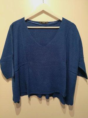 Mango Basics Jersey con cuello de pico azul ramio