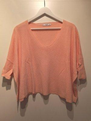 Mango Basics Jersey con cuello de pico rosa ramio