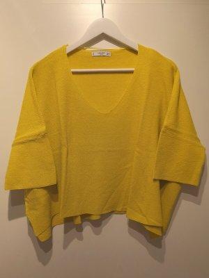 Mango Basics Jersey con cuello de pico amarillo pálido ramio
