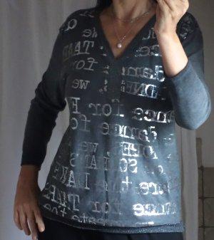 Leichter Pulli, Shirt, dunkelgrau, silber, lässig-festlich, Glitzer Strick Ausschnitt und Bündchen Aufdruck in Silber, leichter Strick, 95% Viskose, 5% Elasthane, NP 59,- Italy, NEU, ungetragen, lässiges Shirt / leichter Pulli, Materialmix, Gr. S/M