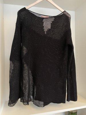 Stefanel Cienki sweter z dzianiny czarny