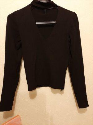 leichter Pullover, Stretch, 52 cm lang, vorne V- Ausschnitt und Neckholder