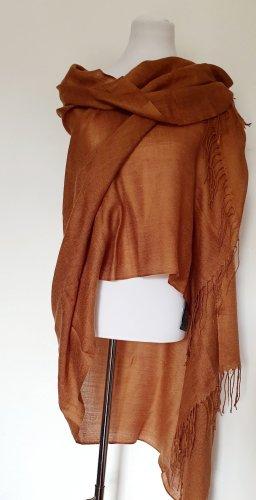 Écharpe à franges brun-cognac