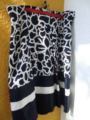 Jupe à plis bleu foncé-blanc cassé soie