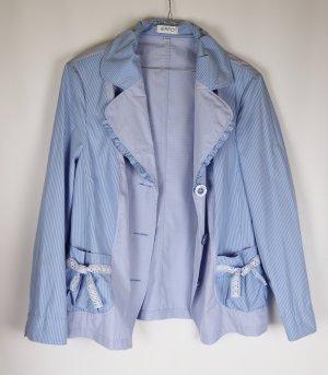 Leichter Sommer Blazer Erfo Größe XL 44 Hellblau Blau Kariert Streifen Rüschen Maritim Jacke Shabby Bluse Materialmix