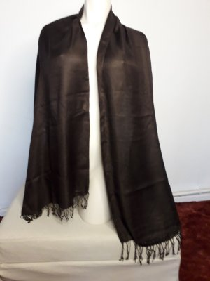 Ohne Bufanda de flecos marrón-negro Viscosa