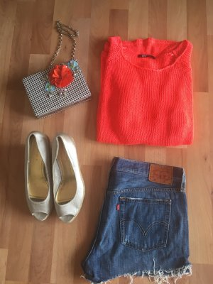 Gina Tricot Pull ras du cou rouge-orange fluo