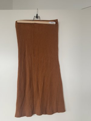 Anna Field Knitted Skirt cognac-coloured polyester