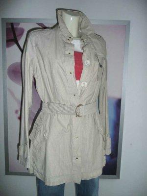 leichter Trenchcoat kurzer Mantel Beige mit feinen Nadelstreifen Gr S