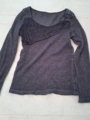 leichter weicher dünner Wollpulli Pulli Pullover mit besonderem Spitzeneinsatz