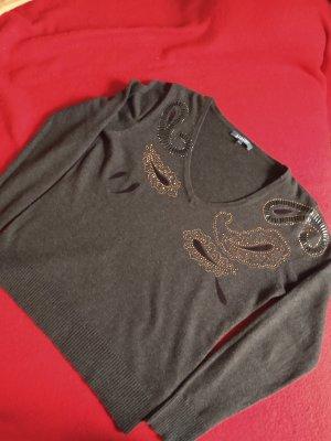 Adagio Jersey con cuello de pico marrón oscuro