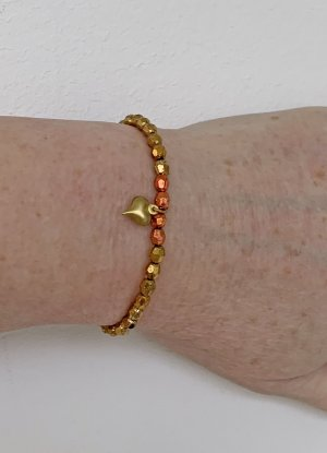 leichtes Armband in gold, mit Herz-Anhänger, 17 cm lang