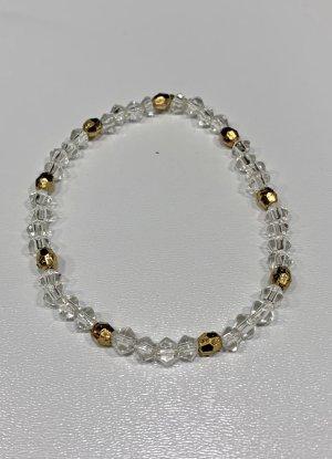 leichtes Armband in kristall mit gold, 17 cm lang