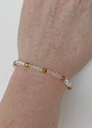 leichtes Armband in kristall mit gold, 17 cm lang
