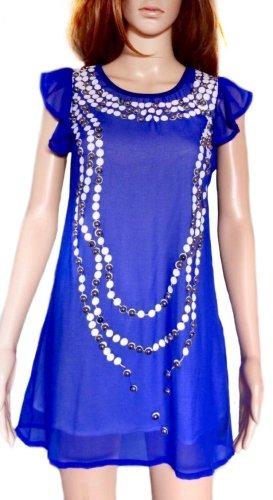 Leichtes Chiffon-Kleid mit Ketten-Print