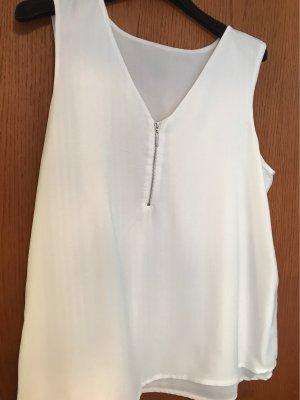 Leichtes Doppellagiges Shirt mit vorne Reissverschluss  in Silber