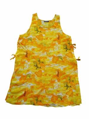 Leichtes, gelboranges Strandkleid mit Animalprint Rundhals, ärmellos