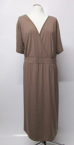 Vestido corte imperio marrón claro-beige tejido mezclado