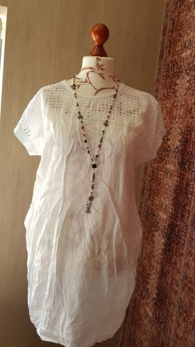 Made in Italy Sukienka z rękawem balonowym biały Len