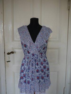 leichtes kurzes Sommerkleid blauer Blumenprint