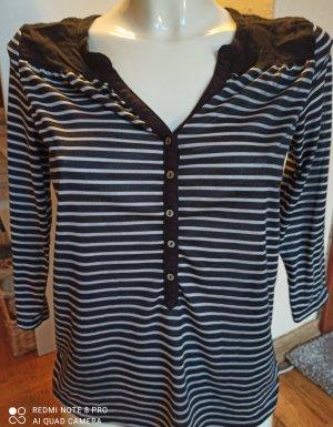 H&M Koszulka w paski czarny-piaskowy brąz