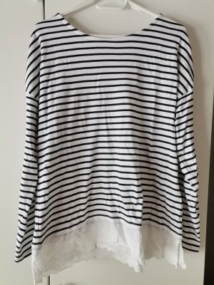 Yessica T-shirt rayé blanc-bleu foncé