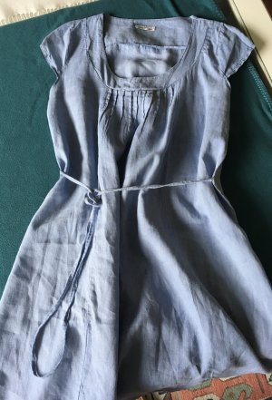 weiss Kleid 38 40 42 Kurzarmkleid Baumwolle Leinen Italy A-Linie Taschen