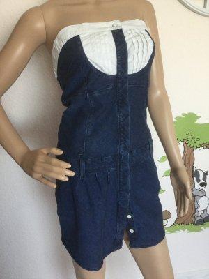 Freesoul Robe en jean blanc-bleu foncé