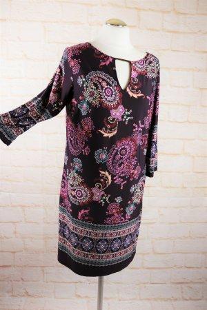 Leichtes Shirtkleid Tunikakleid Atmosphere Größe M 38 40 Bordeaux Lila Blumen Paisley Mandala Muster V-Neck