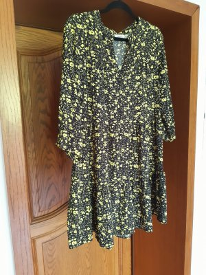 Senes Hippie Dress black-neon yellow