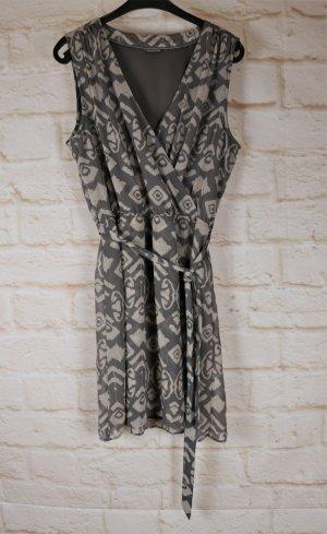 Leichtes Sommerkleid Street One Größe L 42 40 Ikat Muster Khaki Grau Greige Taupe Wrapp Minikleid