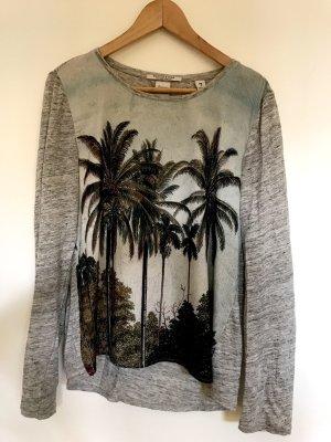 Leichtes Sommershirt aus Leinen  mit Palmenprint
