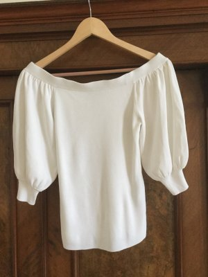 Uterqüe Knitted Top natural white viscose