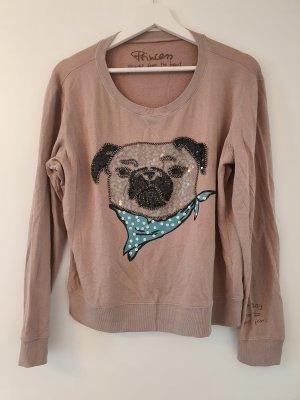 Leichtes Sweatshirt, toller weicher angenehmer Stoff - Mit Pailetten-Mops als Muster