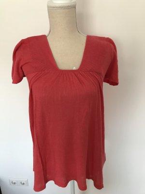 leichtes T-Shirt aus Leinen, A-Linie, rot, H&M, Gr. XS/34
