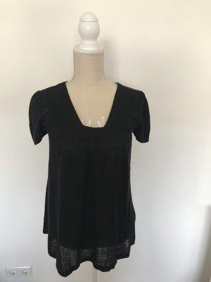 leichtes T-Shirt aus Leinen, A-Linie, schwarz, H&M, Gr. XS/34