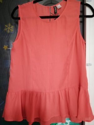 H&M Divided Peplum Top bright red