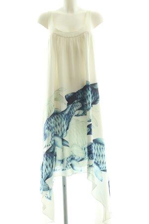 Leifsdottir Vokuhila-Kleid weiß-blau Motivdruck Casual-Look