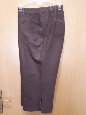 Pantalon en lin brun rouge lin