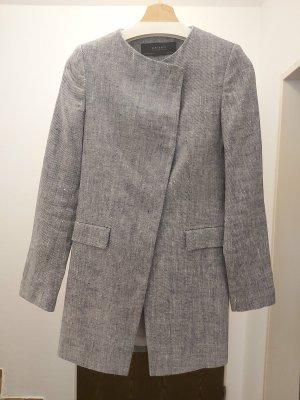 Zara Basic Krótki płaszcz błękitny Len