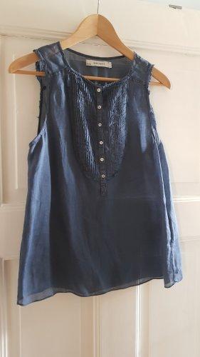 Zara Blusa de lino azul-azul oscuro