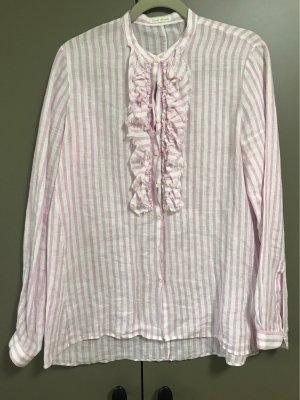 Robert Friedman Blouse en lin blanc-rose clair