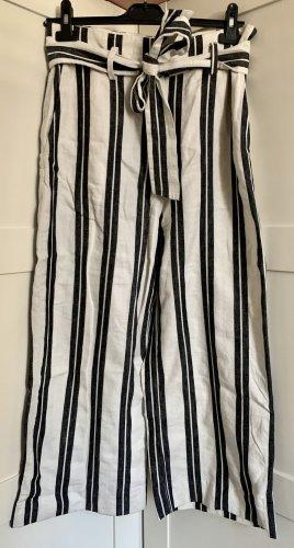 H&M Pantalone culotte bianco-nero Lino