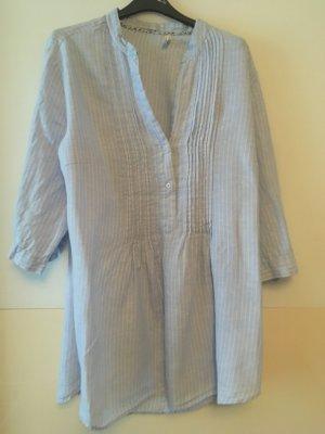 Marco Pecci Blusa in lino azzurro-bianco