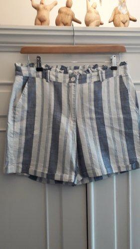italienische Mode Pantalón de lino blanco-azul celeste